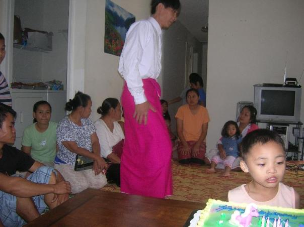 Ka Htoo is checking out the Cake