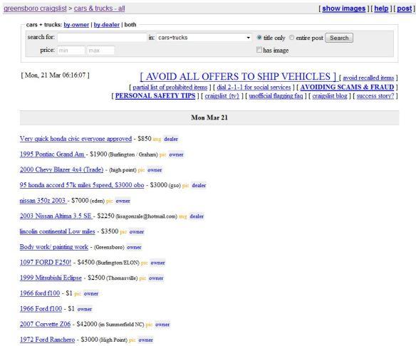 Craigslist: Shopping for cars, washers, etc
