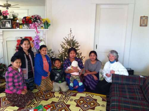 Marcia Jobe visiting with some of the family last year.  Picture by Klo Say.